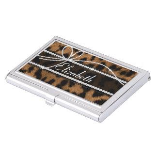 Falso leopardo negro marrón femenino elegante de cajas de tarjetas de negocios