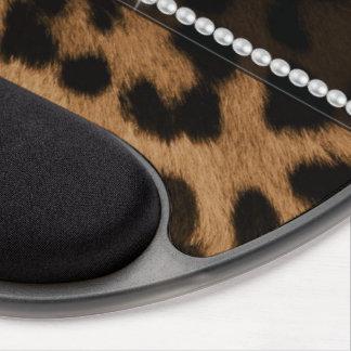 Falso leopardo negro marrón femenino elegante de m alfombrillas con gel