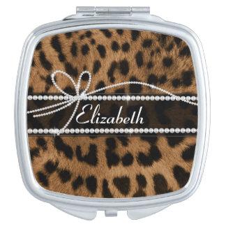 Falso leopardo negro marrón femenino elegante de m espejos compactos