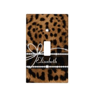 Falso leopardo negro marrón femenino elegante de m tapa para interruptor