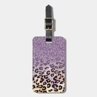 Falso leopardo púrpura de moda femenino lindo del etiquetas para maletas