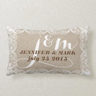 Falso lino beige y almohada blanca 2 del boda del