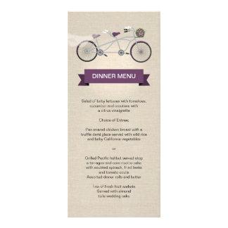 Falso lino de la bicicleta del ciruelo del menú en diseños de tarjetas publicitarias