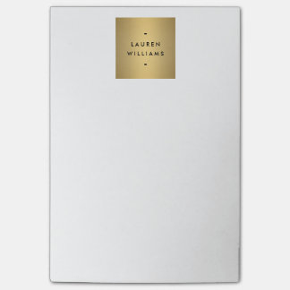 Falso logotipo del nombre del oro post-it notas