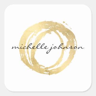 Falso logotipo pintado oro de lujo del diseñador pegatina cuadrada