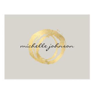 Falso logotipo pintado oro de lujo del diseñador postales