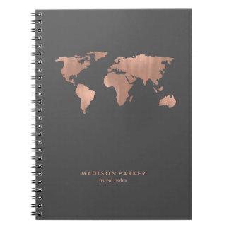 Falso mapa del mundo color de rosa del oro en gris libretas espirales