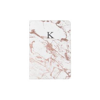 Falso mármol color de rosa elegante moderno del porta pasaportes