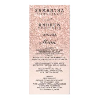 """Falso menú del boda del ombre del rosa del brillo folleto publicitario 4"""" x 9"""""""