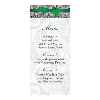 Falso menú del boda del verde esmeralda del cordón