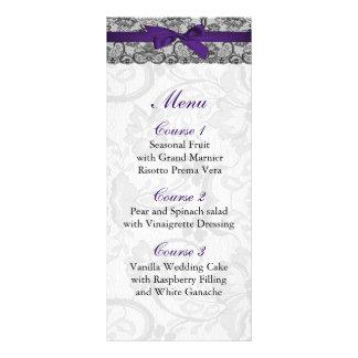 Falso menú negro púrpura del boda del cordón y de