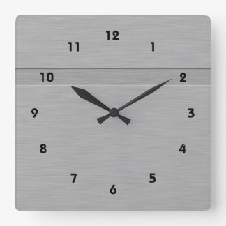 Falso metal cepillado con el surco reloj cuadrado
