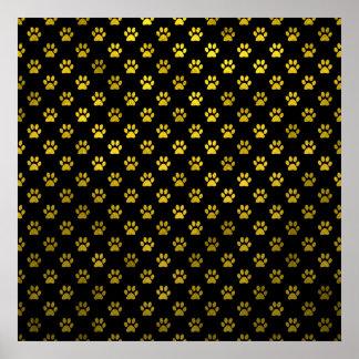 Falso metálico del fondo del negro del oro de la póster