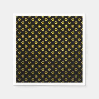 Falso metálico del fondo del negro del oro de la servilleta de papel