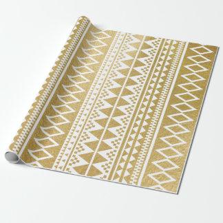 Falso modelo azteca geométrico de la hoja de oro papel de regalo