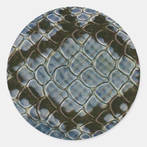 falso modelo azul del snakeskin horizontal pegatina redonda