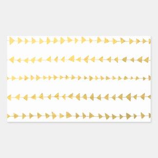 Falso modelo blanco de las flechas de la hoja de pegatina rectangular