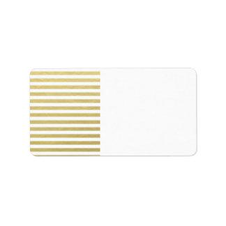 Falso modelo blanco de las rayas de la hoja de oro etiqueta de dirección