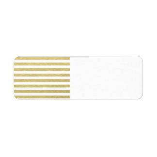 Falso modelo blanco de las rayas de la hoja de oro etiquetas de remite
