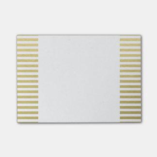 Falso modelo blanco de las rayas de la hoja de oro notas post-it®