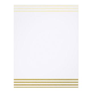 Falso modelo blanco de las rayas de la hoja de oro plantillas de membrete