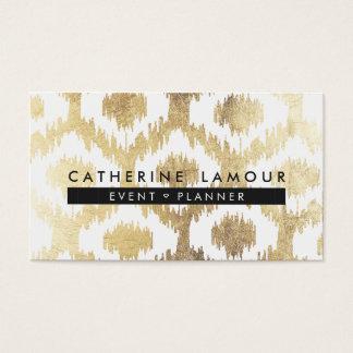 Falso modelo blanco moderno del ikat del handrawn tarjetas de visita