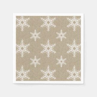 Falso modelo blanco rústico del copo de nieve de servilleta de papel