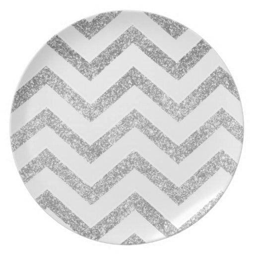 Falso modelo blanco y de plata del galón del platos para fiestas