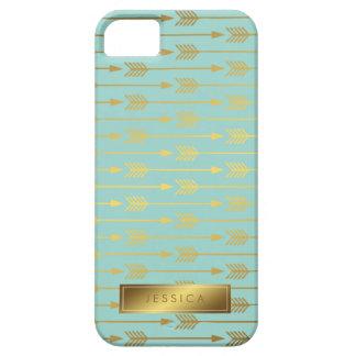 Falso modelo de las flechas de la hoja de oro de funda para iPhone SE/5/5s