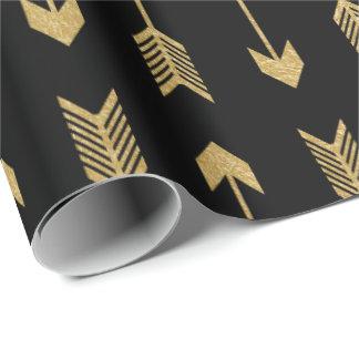 Falso modelo de las flechas de la hoja de oro papel de regalo