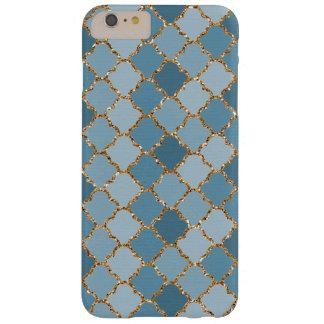 Falso modelo de mosaico brillante azul elegante funda de iPhone 6 plus barely there
