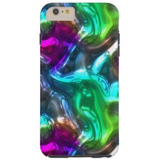 Falso modelo de ondas del vidrio 3D de la verde Funda De iPhone 6 Plus Tough