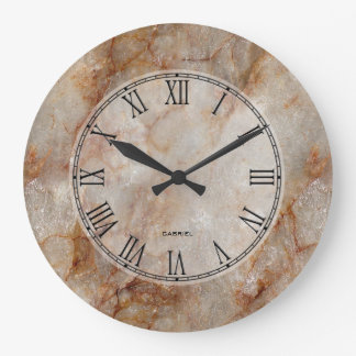 Falso modelo de piedra de mármol realista de Brown Reloj Redondo Grande