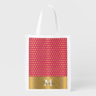 Falso modelo del brillo del oro de los lunares de bolsas de la compra