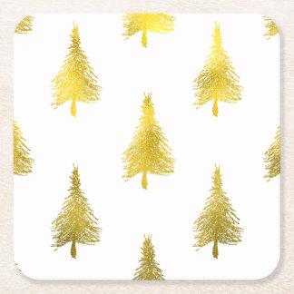 Falso modelo del día de fiesta de la hoja de oro posavasos de cartón cuadrado