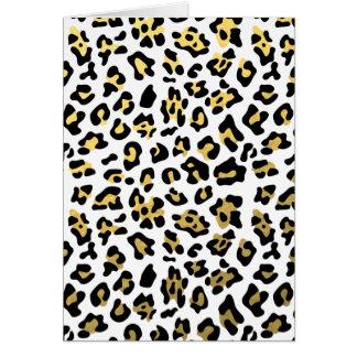 Falso modelo del estampado leopardo del negro de tarjeta de felicitación