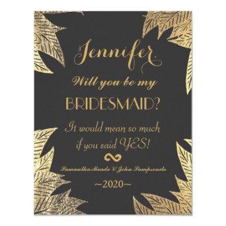"""Falso modelo dibujado de la hoja del oro elegante invitación 4.25"""" x 5.5"""""""