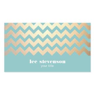 FALSO modelo y azules turquesas de Chevron de la h Tarjetas De Visita