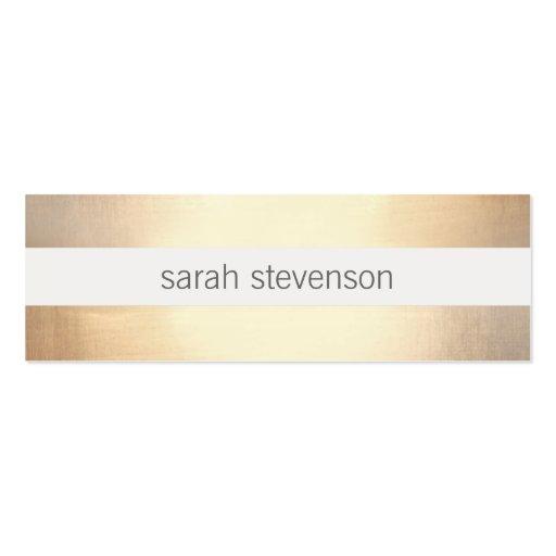Falso moderno rayado elegante de la hoja de oro tarjetas de visita mini