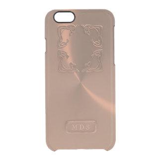 Falso monograma 3D del oro de la caja color de Funda Clearly™ Deflector Para iPhone 6 De Uncommon