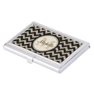 Falso monograma del brillo del oro de plata negro cajas de tarjetas de visita