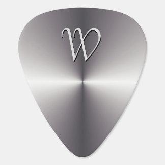 Falso monograma metálico de plata del plumilla de guitarra