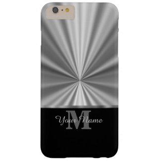Falso monograma metálico y negro de plata funda de iPhone 6 plus barely there
