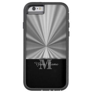 Falso monograma negro metálico de plata funda tough xtreme iPhone 6