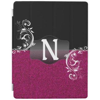 Falso monograma negro rosado brillante del cubierta de iPad
