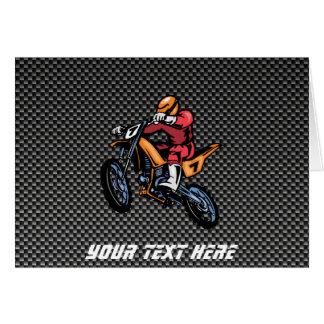 Falso motocrós de la fibra de carbono tarjeta de felicitación