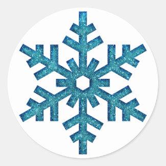 Falso navidad SticG del copo de nieve del brillo Pegatina Redonda