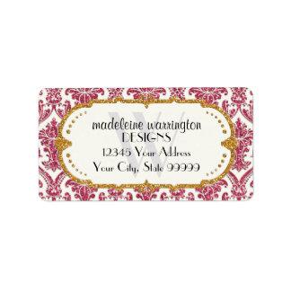 Falso negocio del estampado de flores del damasco  etiqueta de dirección