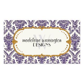 Falso negocio del estampado de flores del damasco tarjeta de visita