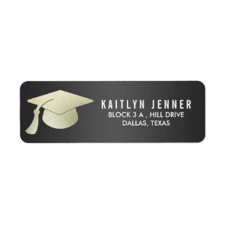 Falso negro moderno del gorra de la graduación de etiqueta de remitente